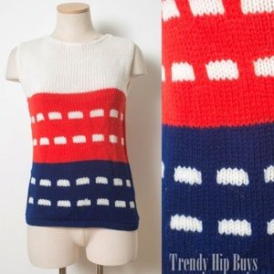 Mod Top,Vintage nautical Knit top,Red Blue top S/M
